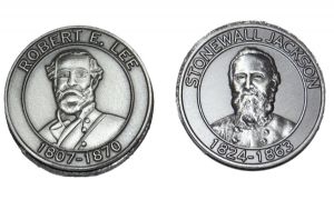 Stonewall Jackson And General Lee Circular Pewter Magnets